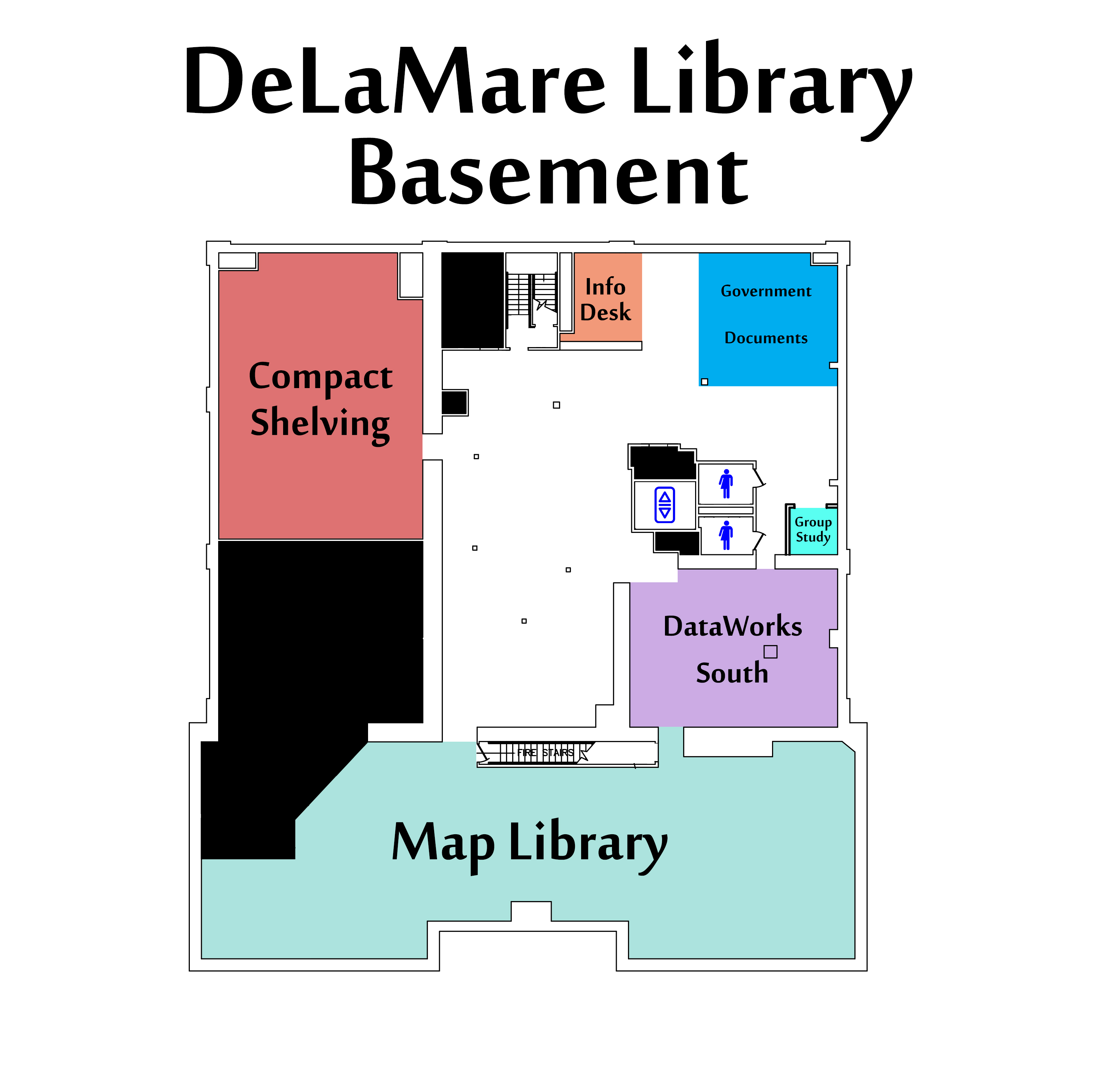 DeLaMare Library Basement Level Floor Map