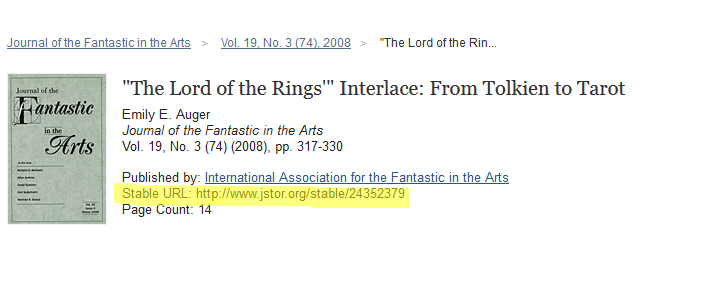 An example of the item result screen in JSTOR with the stable URL highlighted in yellow.