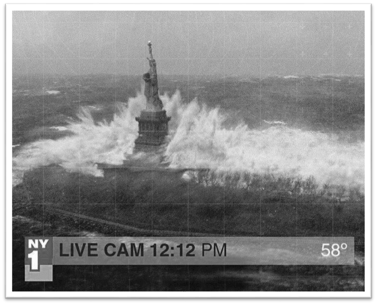 Fake photo of the Statue of Liberty with waves crashing in a storm
