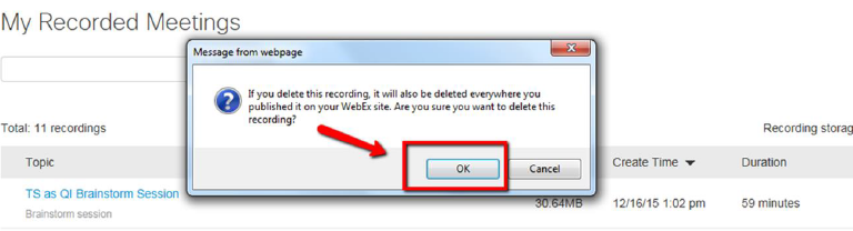 WebEx: How do I delete a recording? - Answers