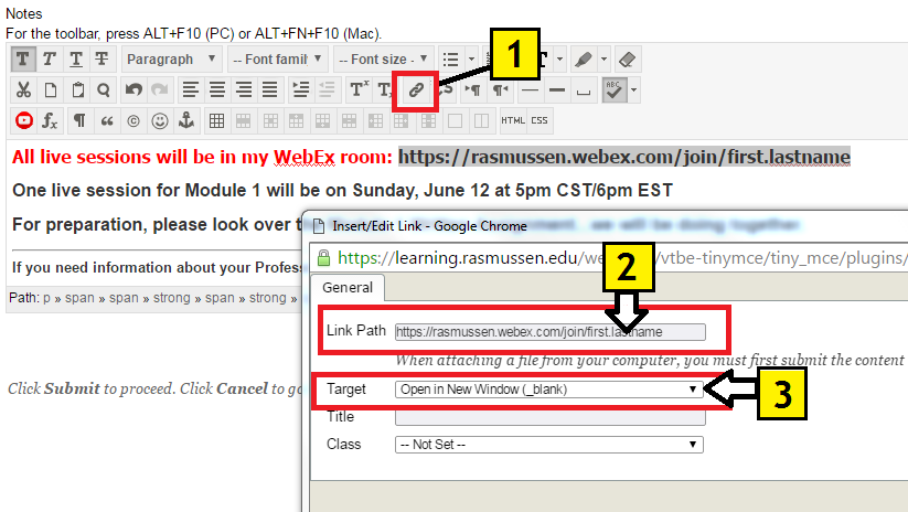 WebEx: How do I add my Personal Meeting Room Link to my online class