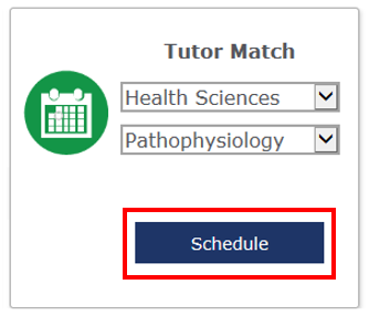 the schedule button is located at the bottom of the Tutor Match box
