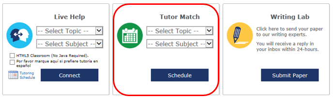 Tutor Match menu located in the middle of the Tutoring Platform home page between Live Help and Writing Lab