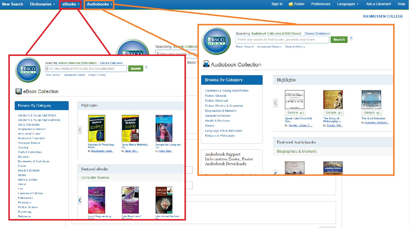 Selecting eBooks and Audiobooks from the eBooks via EBSCO homepage