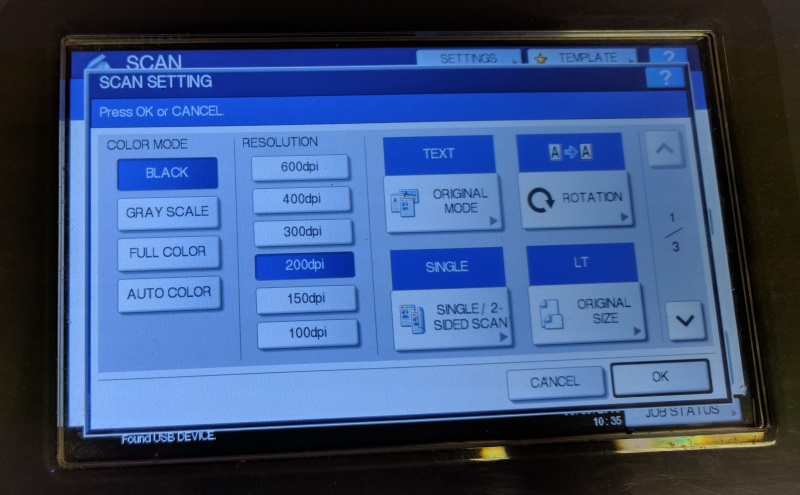 Scan settings screen