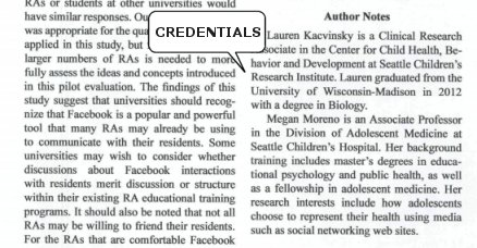 credentials in article