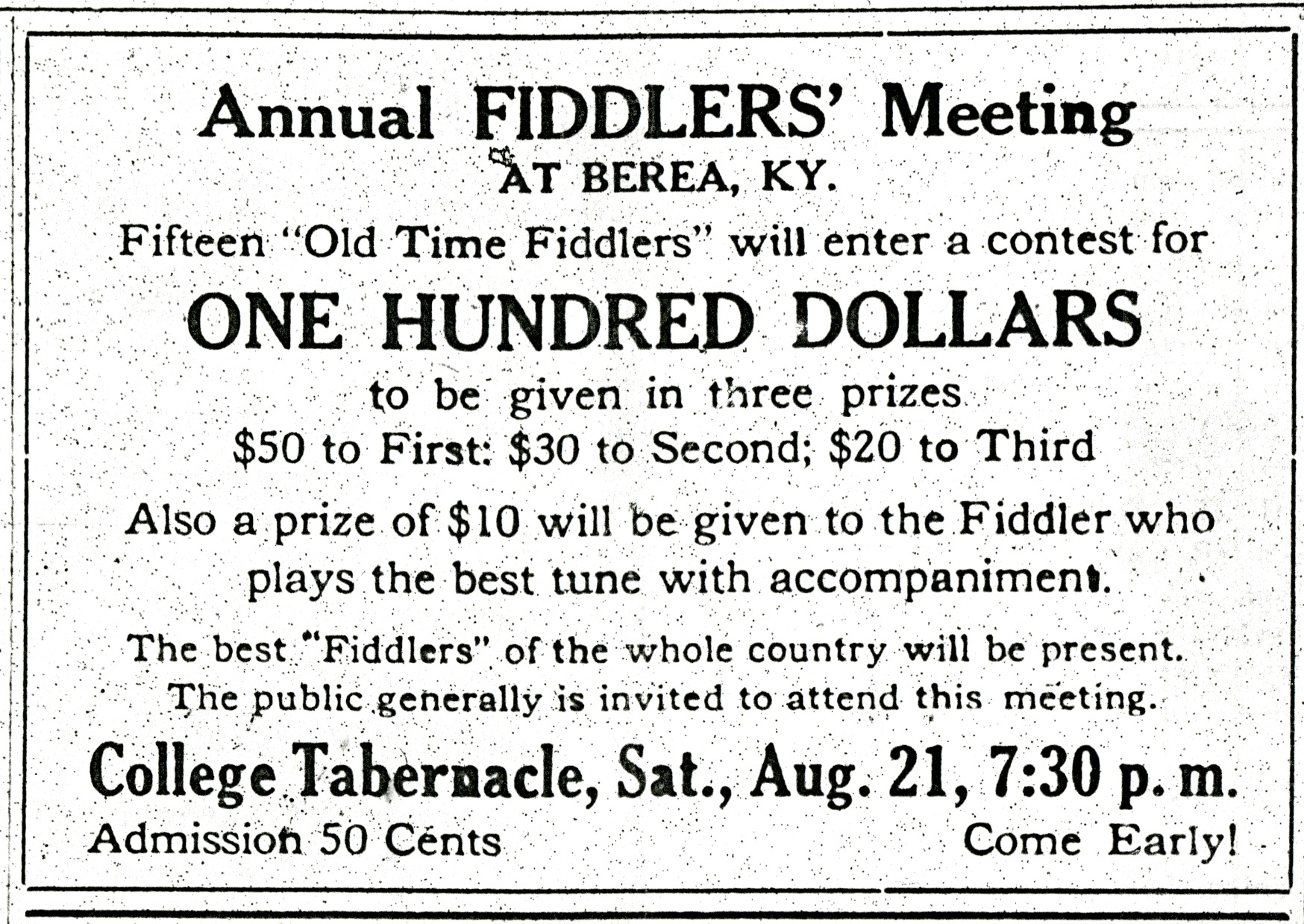 Announcement of Annual Fiddlers' Meeting - The Berea Citizen, August 12, 1920