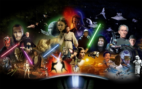 Poster of characters from Star Wars movies.