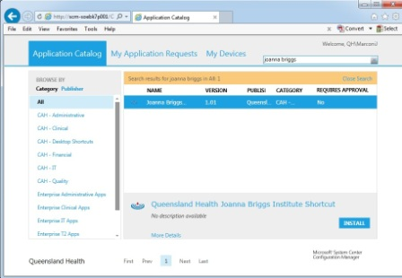 Screenshot QH App Store Joanna Briggs search