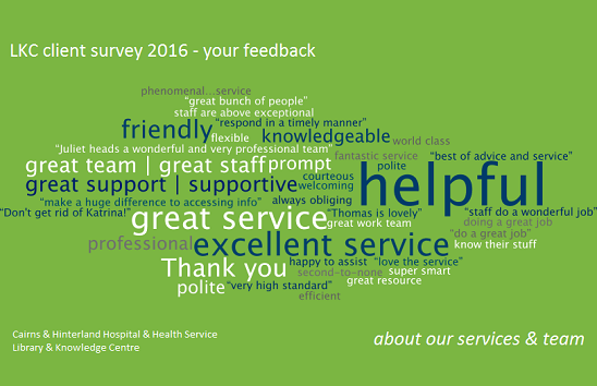Library & Knowledge Centre word art survey feedback summary 2016