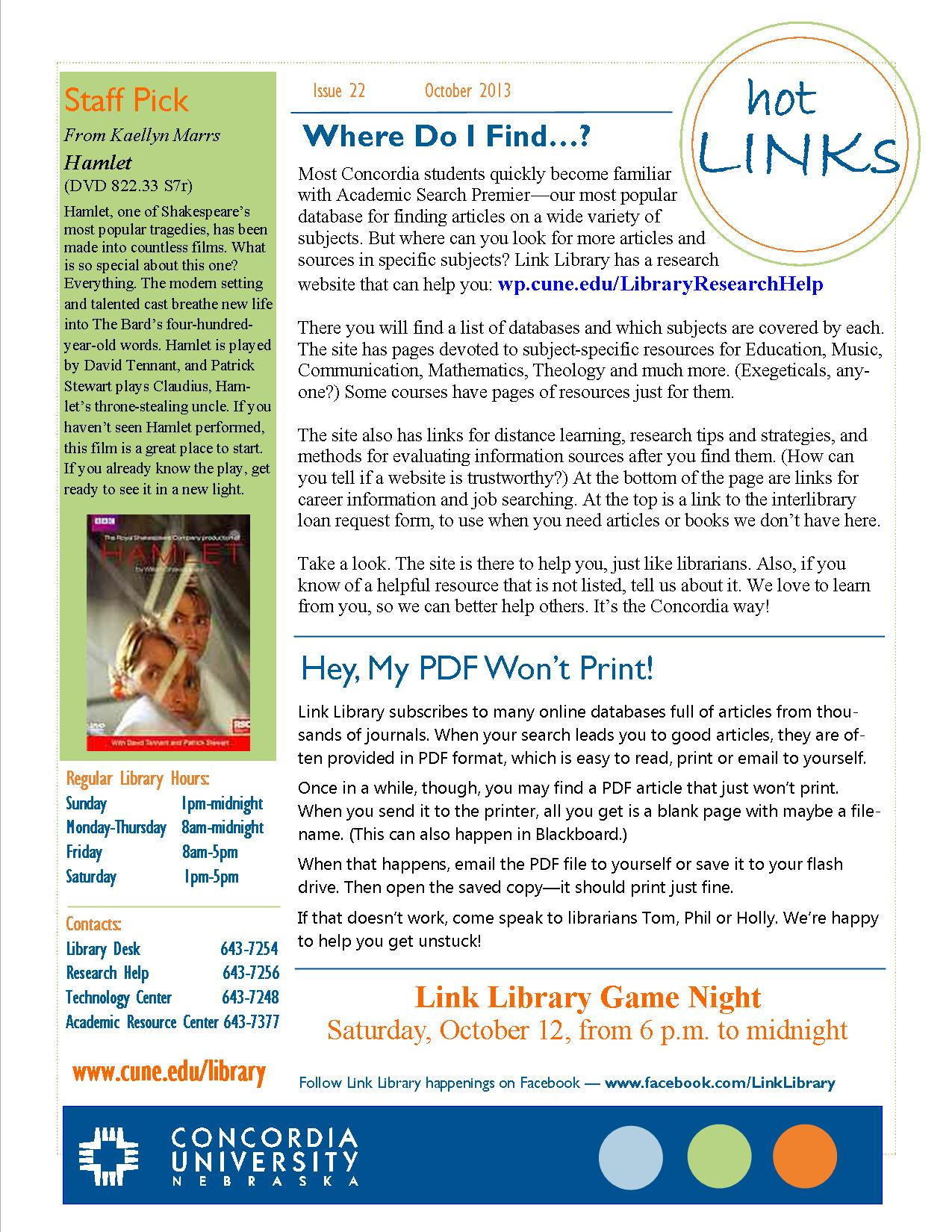 Home - Hot Links Archive - LibGuides at Concordia University Nebraska