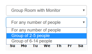 drop down menus with room type choices and total number of people in group