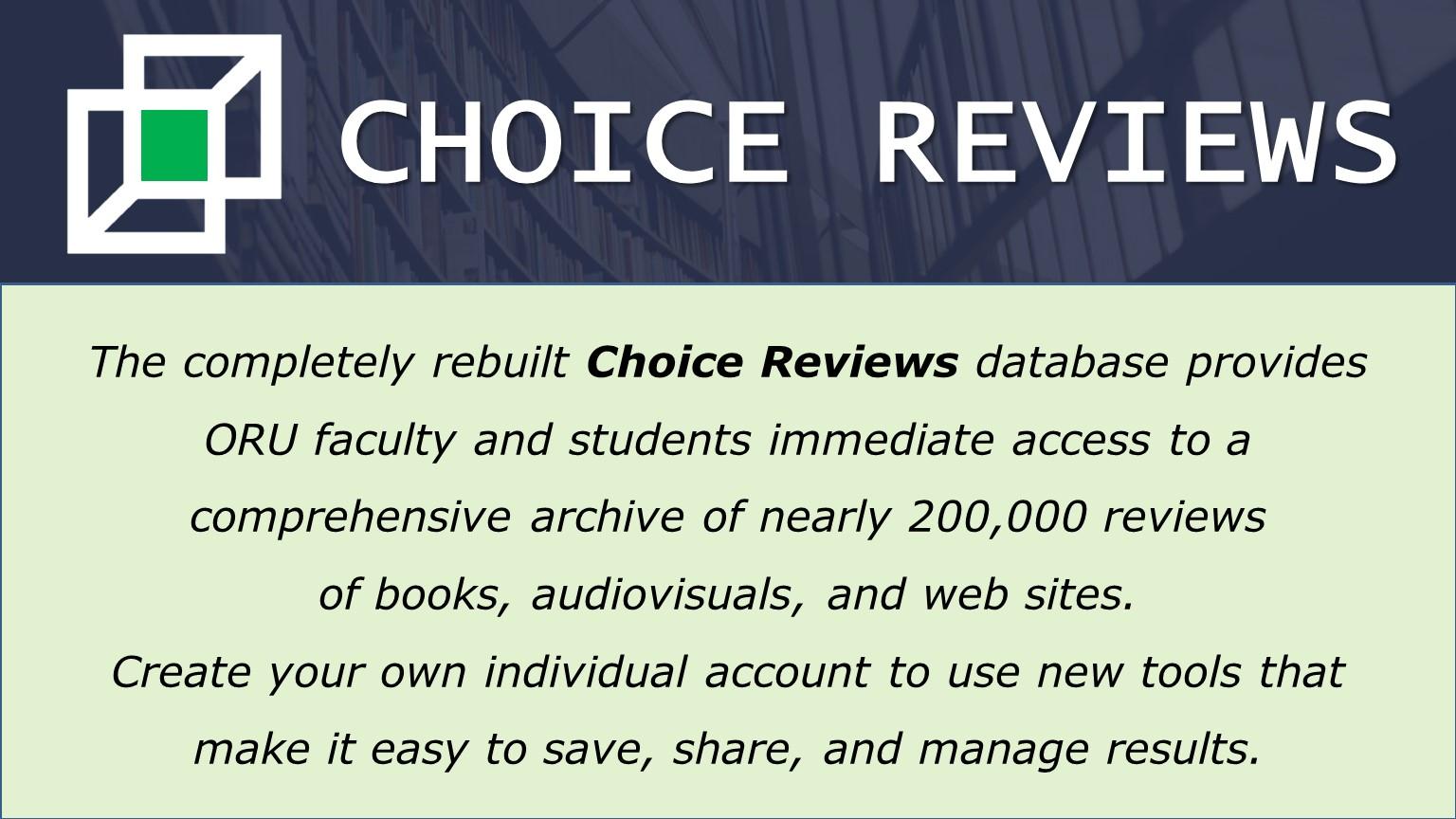 Choice Reviews