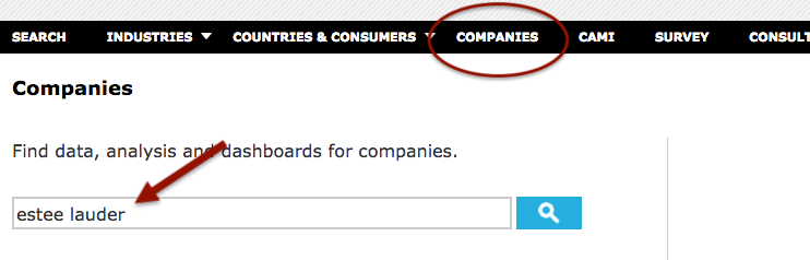 "Click on ""Companies,"" then search for your company's name"