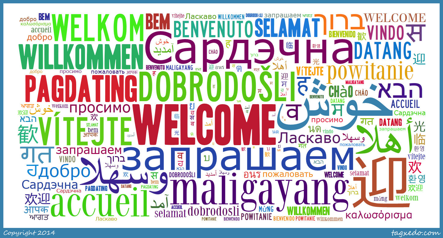 Welcome sign in different languages.