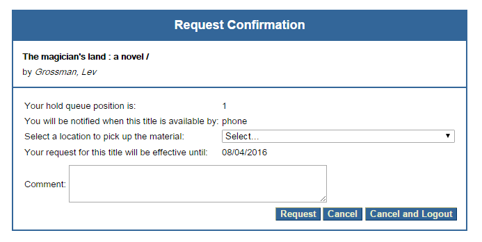 Request Confirmation screenshot