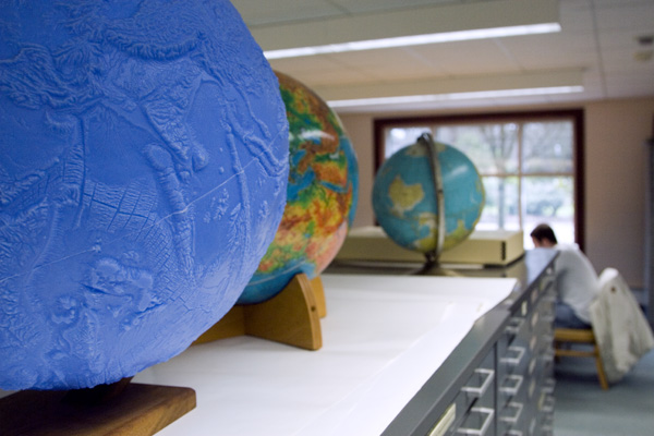 Globes in the Map Library in Knight Library