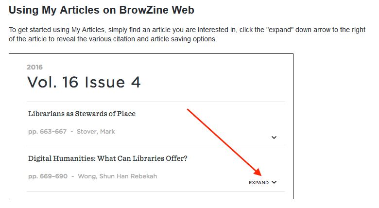 Using My Articles on Browzine web