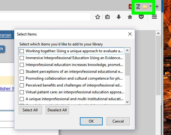 export to zotero