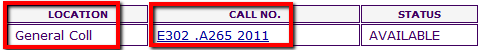 Screenshot of Library Online Catalog showing location and call number