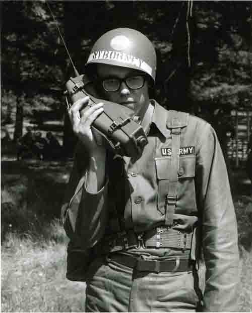 Cadet Rexford R. Hyborney, Jr. Talks on the PRC/6 during Training at ROTC Summer Camp, Fr. Lewis, WA, June 17, 1968