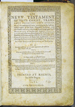 Rheims New Testament, title page (1588)