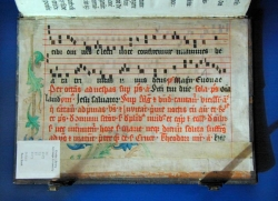 "Antiphonary leaf as ""pastedown"" in Bruno Psalter, back"