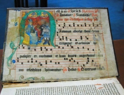 Antiphonary leaf with miniature of St. Martin