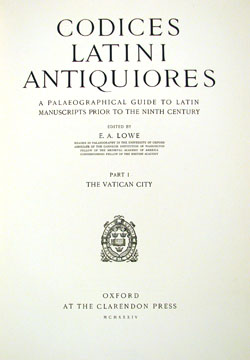 front cover, Lowe, CODICES LATINI ANTIQUIORES (1934), vol. 1