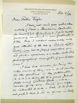 autograph letter by E. A. Lowe to Fr. John Taylor, S.J., front