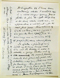 autograph letter by E. A. Lowe to Fr. John Taylor, S.J., back