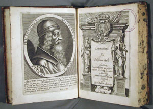 engraved frontispiece and title page, John Middleton, on Aristotle's PHYSICS (1670)