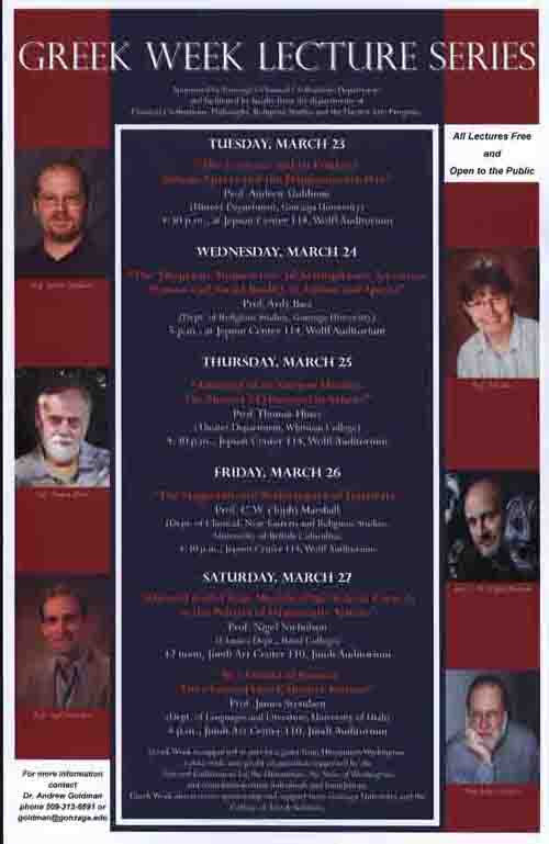 """Greek Week"" Lecture Series, Poster, March 2010"