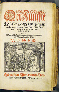 title page of Luther's works in German, vol. 5 (1557)