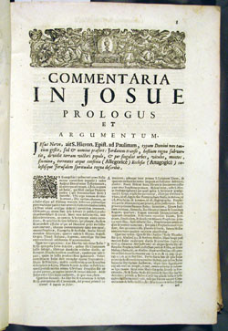 first page of Lapide's commentary on Joshua (1717)