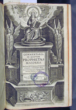 book stamps on title page of Lapide, Commentaria in Quatuor prophetas maiores