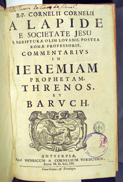 owner inscription on title page of Lapide, COMMENTARIUS IN IEREMIAM, vol. 2