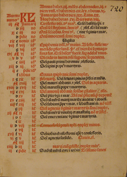 first printed page of 1484 Roman Missal, start of calendar