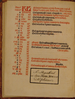 second page of calendar in 1484 Roman Missal, fol. 2v