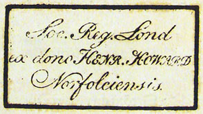 1681 book stamp of Royal Society, in 1484 Missal