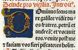 Hand-illuminated initial D from 1484 Roman Missal, fol. 160