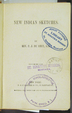 title page with book stamps, De Smet, NEW INDIAN SKETCHES