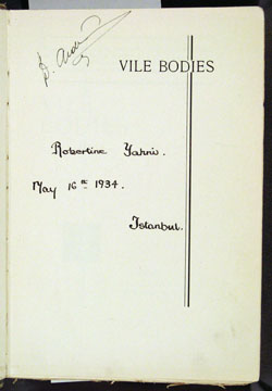 owner inscriptions on half title page, Waugh, VILE BODIES (1930)
