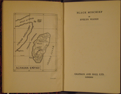 frontispiece and title page, Waugh, BLACK MISCHIEF (1932)