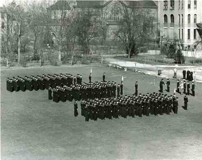 "Entire V-12 ""Gonzaga's Bluejackets"" Unit Stands at Attention as Lt. Lyle Morris presents George Victor with a Presidential Citation, April 12, 1944"