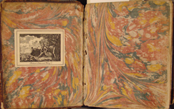 marbled front endpapers, Fourmestraulx(?), LIBER SUMMUS PHISICORUM (1693)
