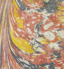 detail of marbling, Fourmestraulx(?), LIBER SUMMUS PHISICORUM (1693)
