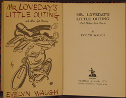 frontispiece and title page, Waugh, MR LOVEDAY'S LITTLE OUTING (1953)