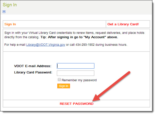 "Screen capture image showing the ""Sign In"" page for the library catalog with an arrow pointing to the ""Reset Password"" link."
