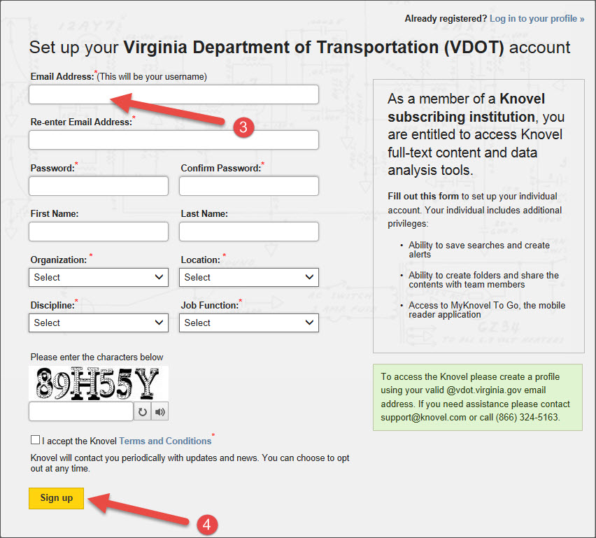 Knovel registration: Set up your Virginia Department of Transportation account.